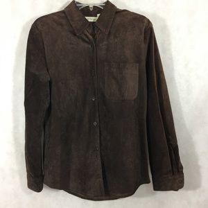 Ann Taylor Suede Leather Shirt Jacket Rich Brown S